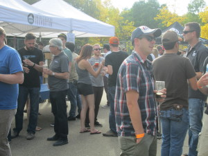 Real Ale Festival-Goers chat about the beer. (How many brewers can you spot in this photo?)