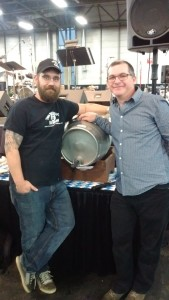 Two Sergeant's Kevin Moore and yours truly pose before a cask of our historical collaboration beer - Dampfbuster Dampfbier.