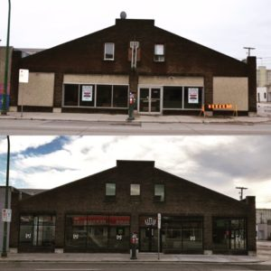 The Red River Motor Coach builiding, before and after Little Brown Jug got their claws into it
